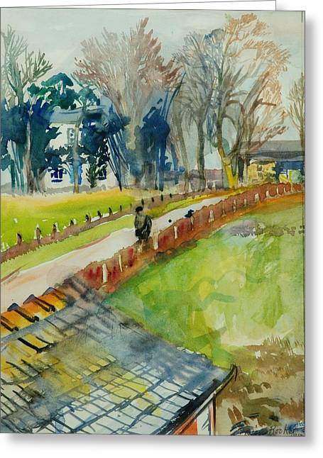 Rural Greeting Cards - Coming Home From Work, 1982 Wc On Paper Greeting Card by Brenda Brin Booker