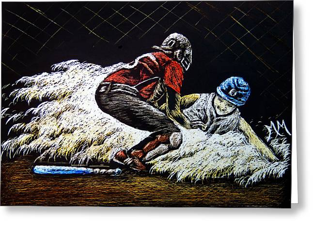 Softball Drawings Greeting Cards - Coming Home Greeting Card by Monique Morin Matson
