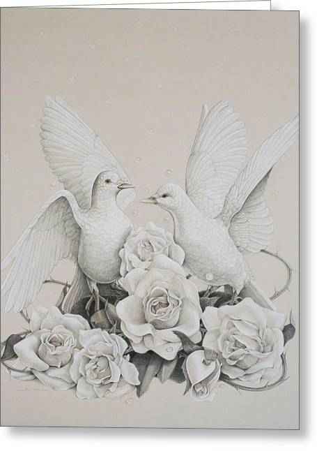 Dove Drawings Greeting Cards - Coming Home Greeting Card by Susan Helen Strok