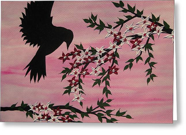 Cherry Blossoms Mixed Media Greeting Cards - Coming home to roost Greeting Card by Cathy Jacobs