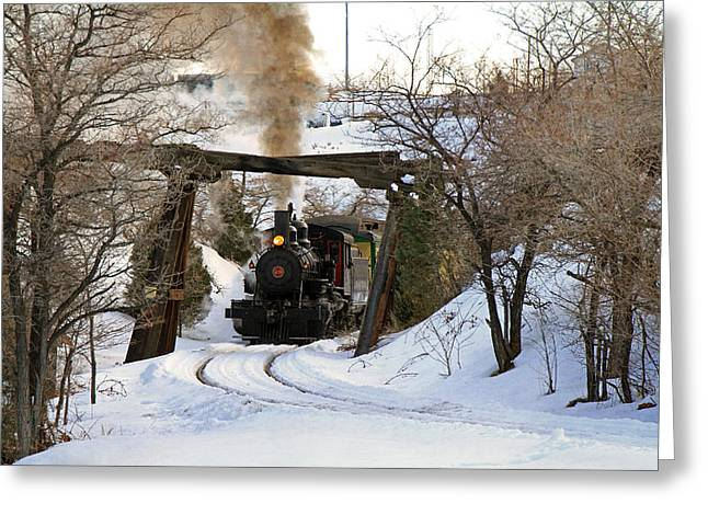 Iron Greeting Cards - Coming Into the Train Depot Greeting Card by Donna Kennedy