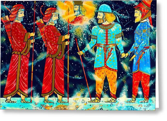 Ancient Persian Art Greeting Cards - Coming of Nu Rouz or New Year Greeting Card by Dariush Alipanah- Jahroudi