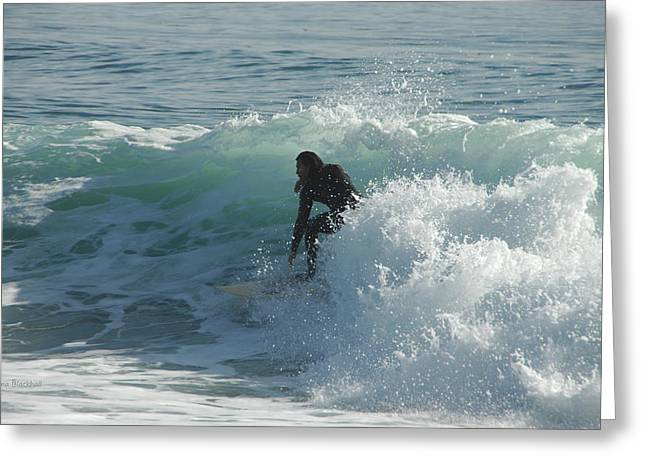 Santa Cruz Surfing Greeting Cards - Coming Out Of The Curl Greeting Card by Donna Blackhall