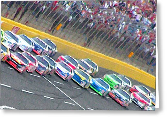 Busch Greeting Cards - Coming Out Of Turn 4 Greeting Card by Kenneth Krolikowski