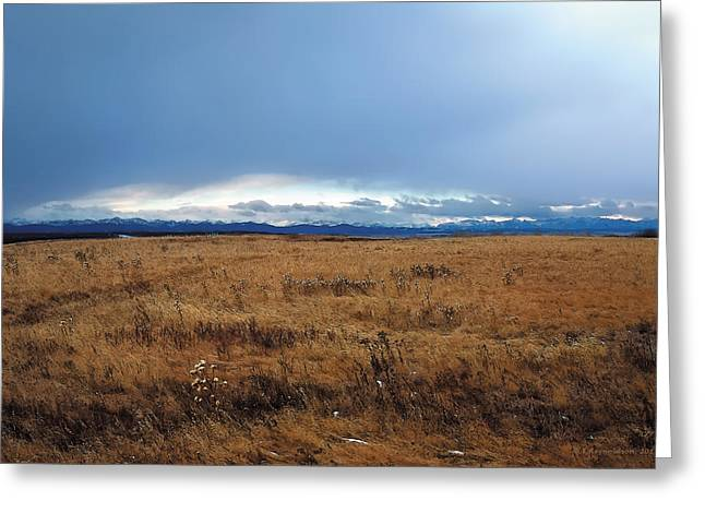 Canadian Foothills Landscape Greeting Cards - Coming Snow 2 Greeting Card by Terry Reynoldson