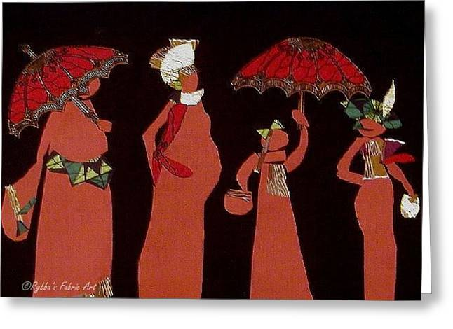 Umbrellas Tapestries - Textiles Greeting Cards - Coming Together Greeting Card by Ruth Yvonne Ash