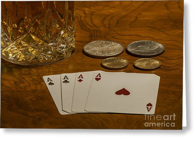 High Stakes Greeting Cards - Coming Up Aces Greeting Card by Dale Powell