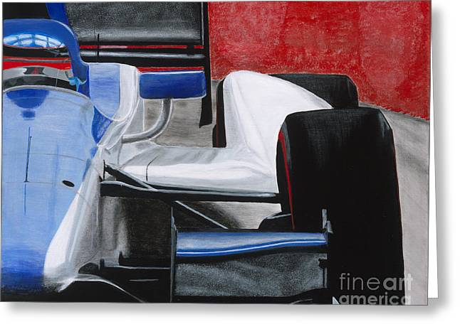 Indycar Greeting Cards - Coming Greeting Card by William  Homeier