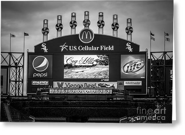 Comiskey Park U.S. Cellular Field Scoreboard in Chicago Greeting Card by Paul Velgos