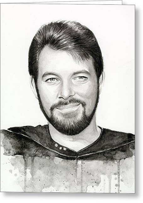 Black And White Print Greeting Cards - Commander William Riker Star Trek Greeting Card by Olga Shvartsur