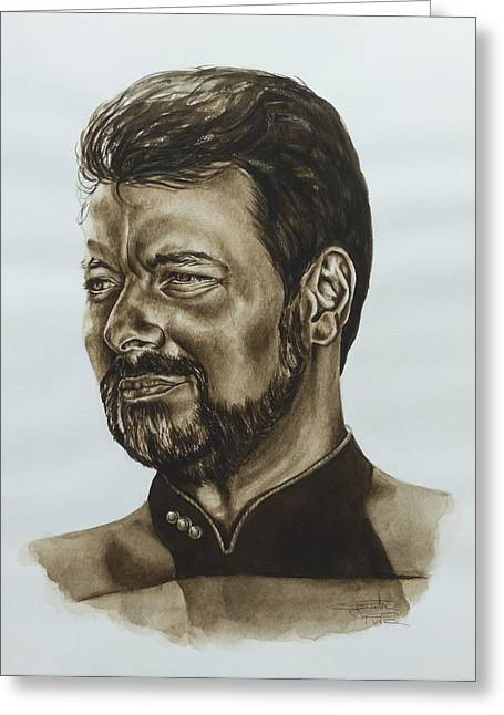 Roddenberry Paintings Greeting Cards - commander William Riker Star Trek TNG Greeting Card by Giulia Riva