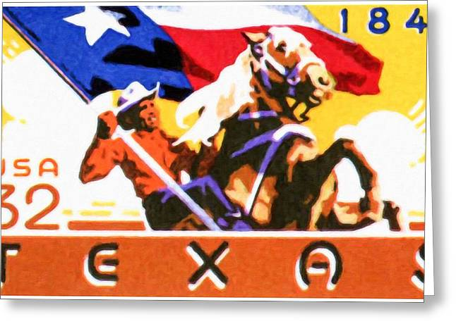 Lone Horse Paintings Greeting Cards - commemorative of the 150th anniversary of Texas statehood Greeting Card by Lanjee Chee