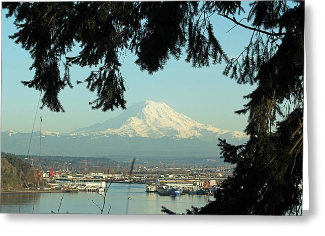 Commencement Bay Greeting Cards - Commencement Bay - Mt. Rainier Greeting Card by E Faithe Lester