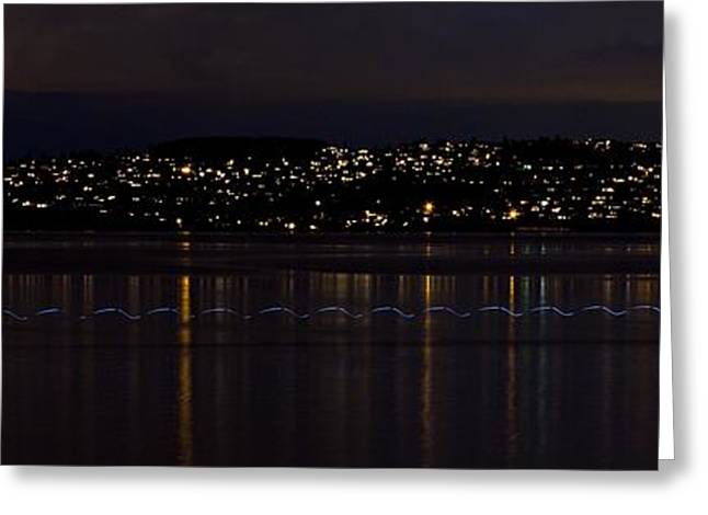 Commencement Bay Greeting Cards - Commencement Bay Light Trail Greeting Card by Rob Green