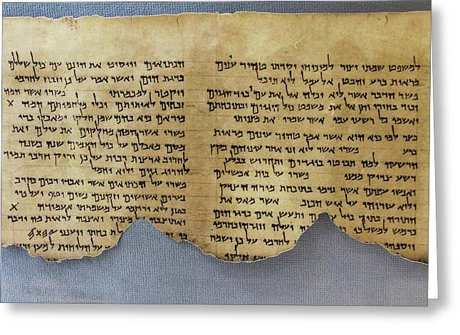 Essene Greeting Cards - Commentary of Habakkuk Scroll Dead Sea Scrolls Greeting Card by Dale Bargmann