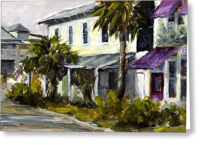 Purple Awnings Greeting Cards - Commerce and Avenue D Greeting Card by Susan Richardson
