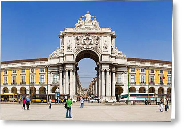 Historic Statue Greeting Cards - Commerce Square in Lisbon Greeting Card by Jose Elias - Sofia Pereira