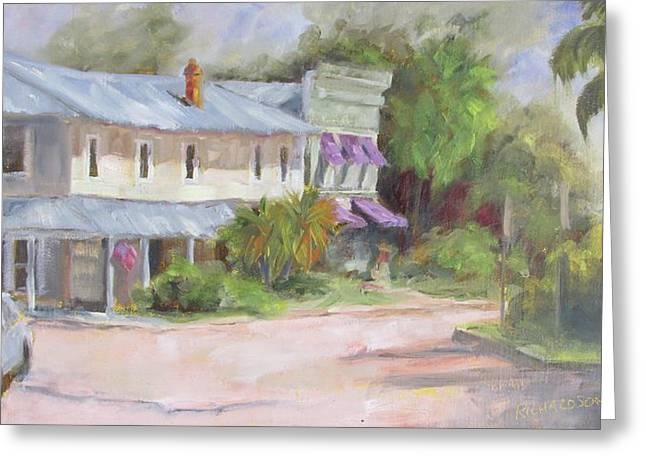 Purple Awnings Greeting Cards - Commerce Street Apalach Greeting Card by Susan Richardson