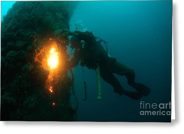 Diving Helmet Greeting Cards - Commercial Diver at work Greeting Card by Hagai Nativ