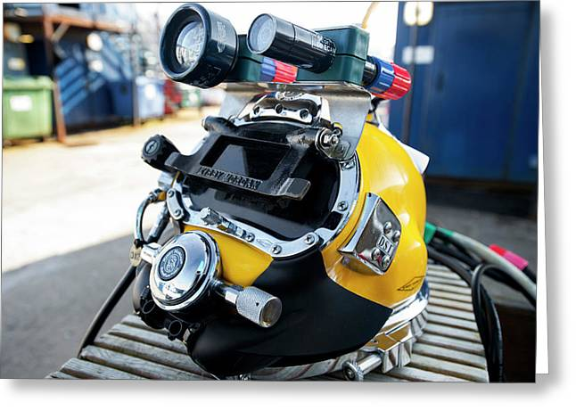 Commercial Diving Helmet Greeting Card by Louise Murray