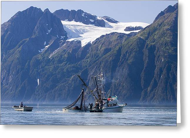 National Commercial Greeting Cards - Commercial Fishing Boat *malamute Kid* Greeting Card by Scott Dickerson