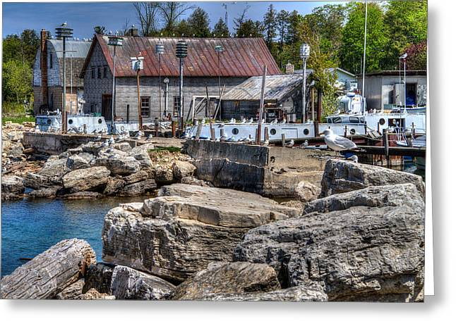 Gills Rock Greeting Cards - Commercial Fishing Dock Greeting Card by Jeffrey Ewig