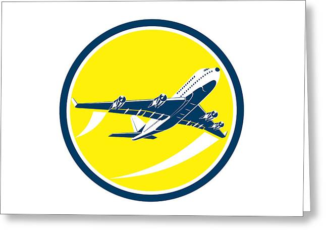 Commercial Digital Art Greeting Cards - Commercial Jet Plane Airline Circle Retro Greeting Card by Aloysius Patrimonio