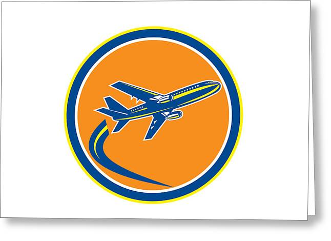 Commercial Digital Art Greeting Cards - Commercial Jet Plane Airline Flying Retro Greeting Card by Aloysius Patrimonio