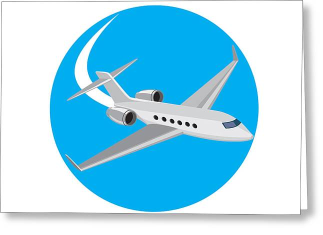 Commercial Light Passenger Airplane Circle Retro Greeting Card by Aloysius Patrimonio