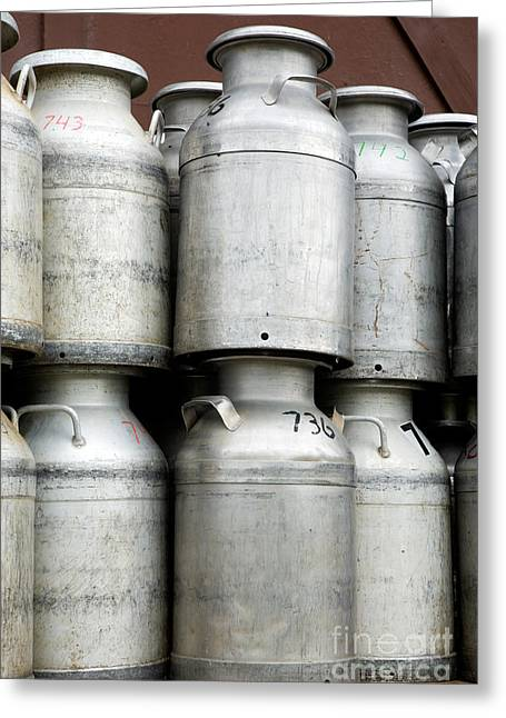Canned Food Greeting Cards - Commercial Milk Cans Greeting Card by Iris Richardson