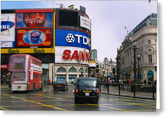 Commercial Photography Greeting Cards - Commercial Signs On Buildings Greeting Card by Panoramic Images