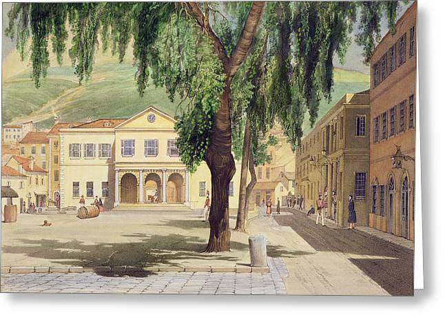 Town Drawings Greeting Cards - Commercial Square, The Commercial Greeting Card by Thomas Colman Dibdin