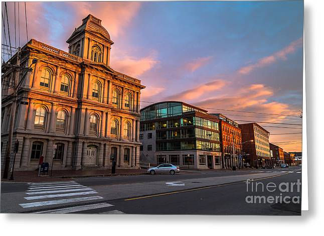 Old Maine Houses Greeting Cards - Commercial Street Architecture Greeting Card by Benjamin Williamson