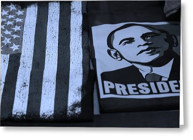 Barack Obama Digital Art Greeting Cards - COMMERCIALIZATION OF THE PRESIDENT OF THE UNITED STATES in CYAN Greeting Card by Rob Hans