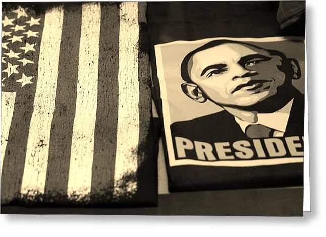 COMMERCIALIZATION OF THE PRESIDENT OF THE UNITED STATES in SEPIA Greeting Card by ROB HANS
