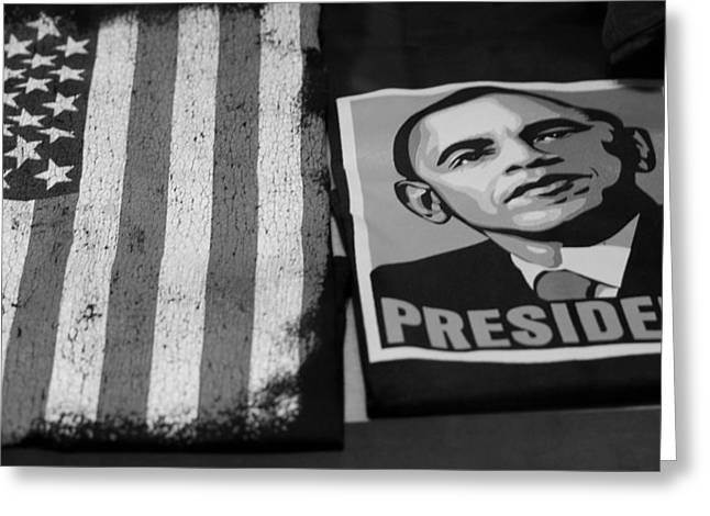 Barack Obama Digital Art Greeting Cards - COMMERCIALIZATION OF THE PRESIDENT OF THE UNITED STATES OF AMERICA in BLACK AND WHITE Greeting Card by Rob Hans