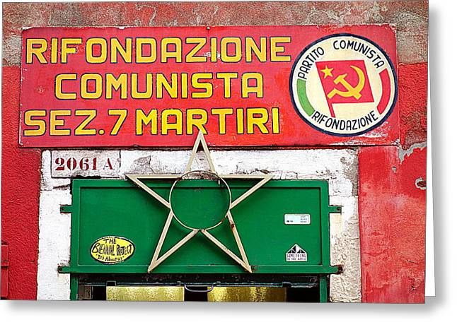 Entrance Door Greeting Cards - Commie Sign Greeting Card by Valentino Visentini