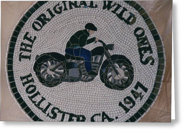Transportation Ceramics Greeting Cards - Commissioned Bike Club Motif Greeting Card by Pj Flagg Tongue in Chic