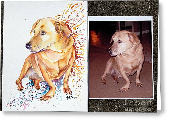 Portraits Of Pets Greeting Cards - Commissioned Dog #2 Greeting Card by Maria Barry
