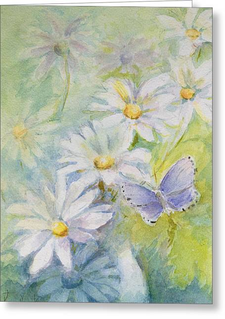 Flower Still Life Greeting Cards - Common Blue Polyommetus Icarus On Daisies Greeting Card by Karen Armitage