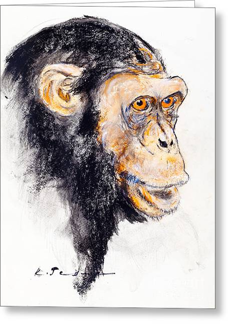 Chimpanzee Pastels Greeting Cards - Common chimpanzee Greeting Card by Kurt Tessmann