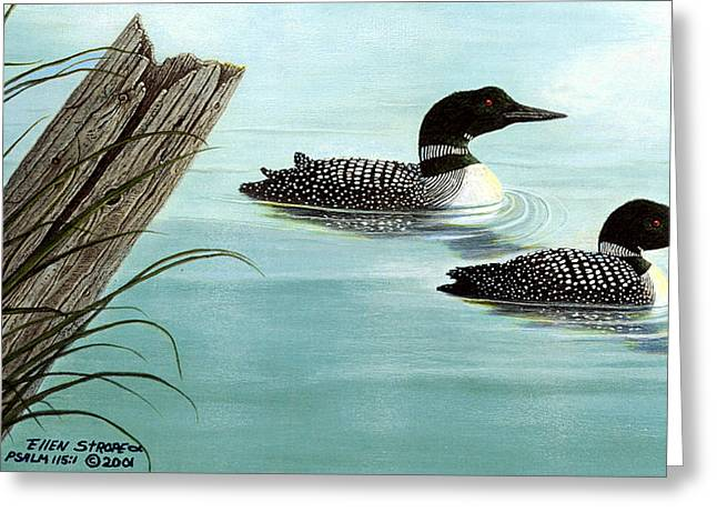Common Loons Greeting Card by Ellen Strope
