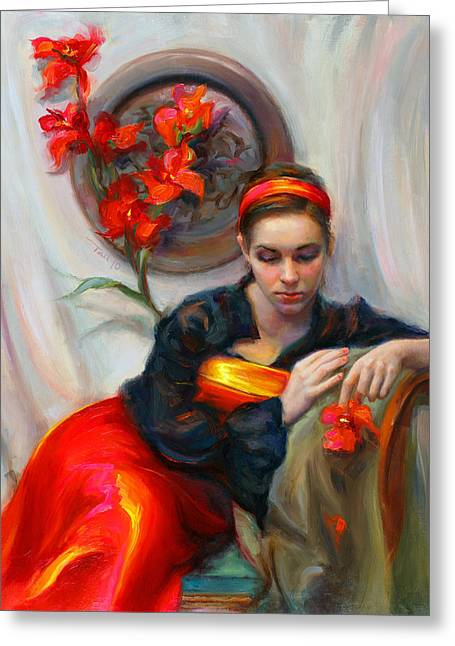 Red Dress Greeting Cards - Common Threads - Divine Feminine in silk red dress Greeting Card by Talya Johnson