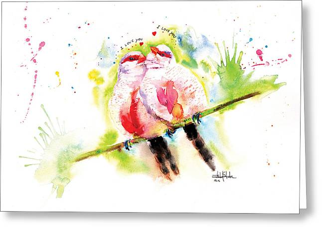 Valentines Day Drawings Greeting Cards - Common Waxbill in love Greeting Card by Isabel Salvador