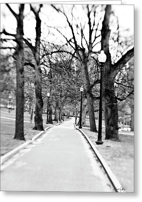 Boston Ma Photographs Greeting Cards - Commons Park Pathway Greeting Card by Scott Pellegrin