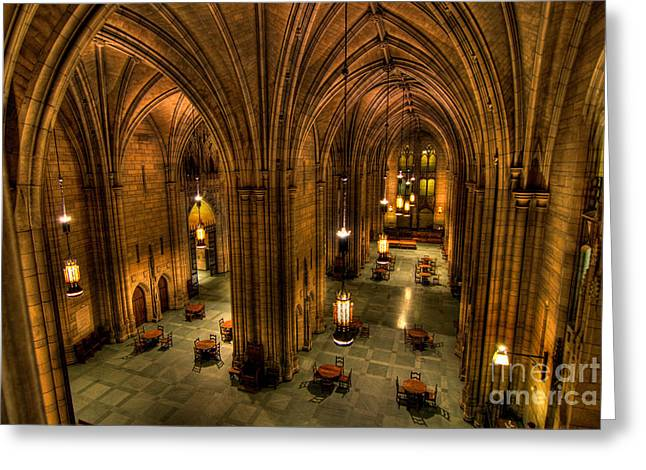 Chandelier Greeting Cards - Commons Room Cathedral of Learning University of Pittsburgh Greeting Card by Amy Cicconi
