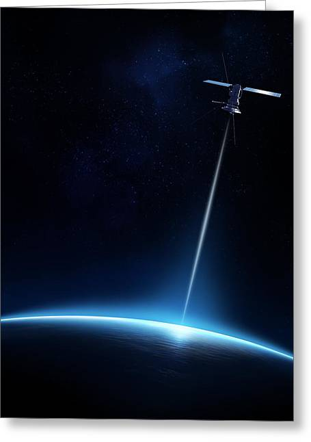 Technology Greeting Cards - Communication between satellite and earth Greeting Card by Johan Swanepoel