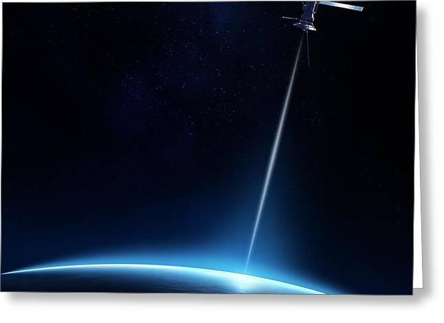 Laser Beam Greeting Cards - Communication between satellite and earth Greeting Card by Johan Swanepoel