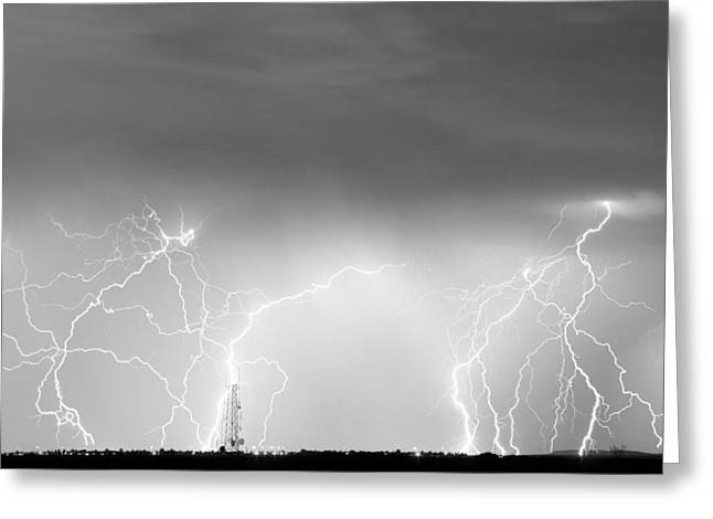 Photography Lightning Greeting Cards - Communication Breakdown BW Greeting Card by James BO  Insogna