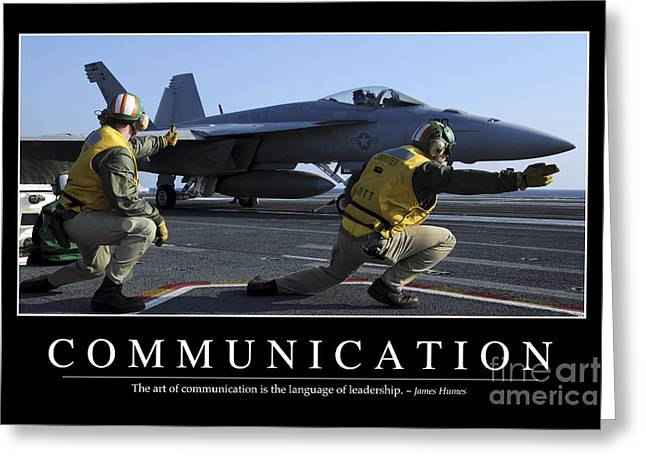 F-18 Greeting Cards - Communication Inspirational Quote Greeting Card by Stocktrek Images